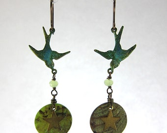 Lovely Swallows With Green Shell Beads Earrings Woodland Bronze Wings Free Elegant Feminine Bling Nature