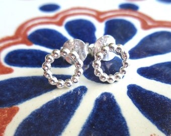 Sterling Silver Circle Stud Earrings - Round Silver Studs - Small Silver Circle Studs - Simple Silver Stud Earrings