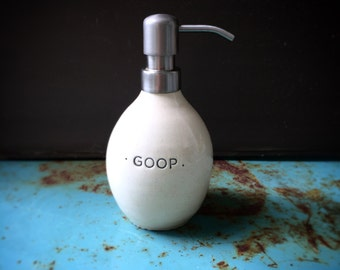"Soap pump ""GOOP"" - white stoneware"