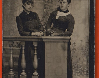 Very Unusual/Rare Tintype Portrait of Two Men in Drag - Men Dressed as Women 1880s 1/6th Plate Tintype