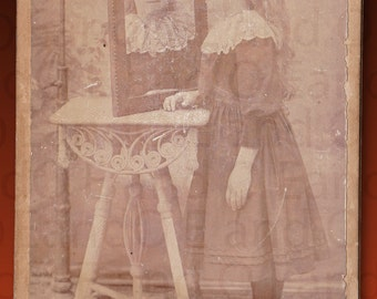 Very Rare Antique Victorian Cabinet Card Portrait of a Young Girl Looking in a Mirror - Identified as Isabelle Cross, Age 8