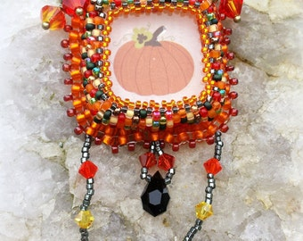 Ladies Necklace, Halloween, Harvest Necklace, Pumpkin Necklace, Thanksgiving, Swarovski Necklace, Ladies Necklcae, Teen Necklace