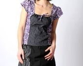 Grey and purple floral top with square neckline, Womens grey short sleeved top, Purple floral cotton top, sz 12-14