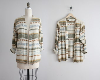 draped jacket / novelty print fabric / slouchy blazer
