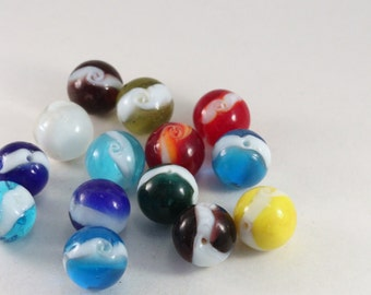 Blue, Yellow, Turquoise, Orange, Purple Lampwork Glass Round Marble Beads, Wholesale Bead Mix #4