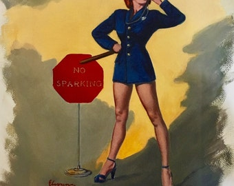 Estate Sale! ELVGREN - No Parking No Sparking Original Painting 16X20 Rare Pinup Vancas of POLICE Woman Cop Pin-up exposes Legs, High Heels