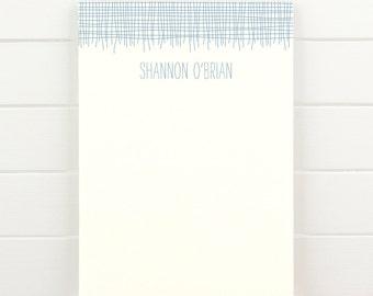 LINEN Personalized Notepad - Masculine Teacher Letterhead