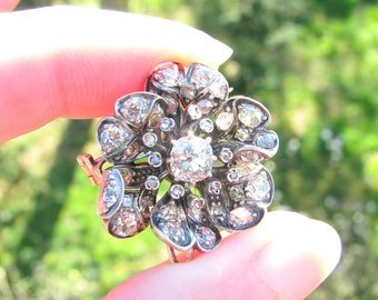 Antique Diamond Pendant Brooch, Stunning Old Cut Diamonds, approx 2.96 ctw, Elegant Diamond Flower in Gold and Silver, Victorian