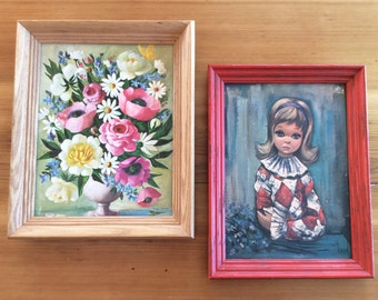 Eden Harlequin Girl, and Michael Marsden Flowers : Vintage 1960s Lithograph Prints. Framed Art Prints. Mod, Colorful Wall Art.