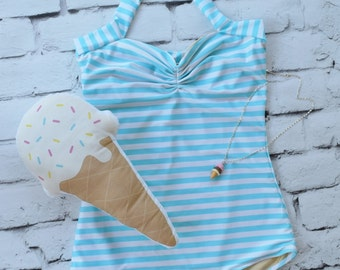 Blue & white candy stripe one piece pinup retro womens swimsuit sizes S-XL