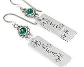 May Birthstone Earrings, Hand Stamped Earrings, Emerald Crystal Earrings, Dream Earrings, May Crystal Earrings
