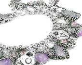 Amethyst Charm Bracelet, Purple Amethyst Bracelet, Amethyst Heart Charms, Amethyst Jewelry