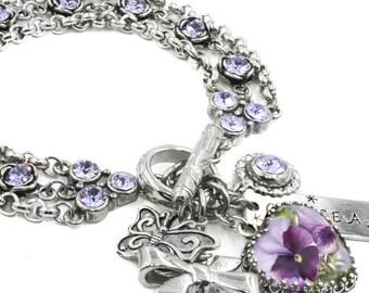 Amethyst Bracelet, Crystal Bracelet, Pansy Bracelet, Heart Bracelet, Sterling Silver Heart Setting