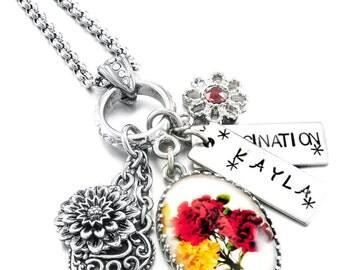 Birthday Flower Necklace, Birthday Gift Flower, January Birthday,Personalized Birthday Jewelry, Flower Necklace, Birthday Necklace