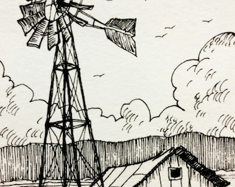 Old Windmill - ACEO - Original Artwork, Black and White Ink Sketch