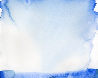 """Abstract Indigo Blue Zen Watercolor Painting, Serene, Peaceful, Tranquil, Original art """"Finding Tranquility 4"""" by Kathy Morton Stanion EBSQ"""