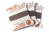 Size 2, 3 or 4 : Gray Cord, 100% Silk Cord with Built-In Stainless Steel Needle for Jewelry & Hand Knotting, 2 Yard Spool