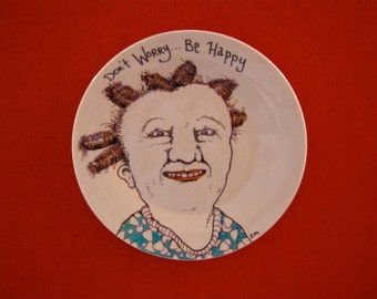 Hand painted Plate , sandy mastroni, original illustration weird home decor, Odd art, fun art, ceramic plate, by Sandy Mastroni