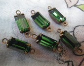 Tourmaline Green Vintage Swarovski 10X5mm Baguette Vintage Glass Drops Two Loops 6 Pcs