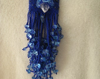 Blue Amulet Necklace, Handbeaded in shades of blues