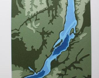 "Lake Baikal w/ topography - 8 x 10"" layered papercut art"