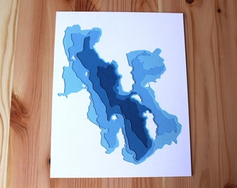 Great Salt Lake - original 8 x 10 papercut art