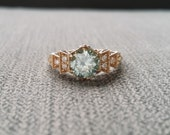 """Antique Icy Blue Moissanite and Diamond Engagement Ring Rose Gold 1920s Copper Gemstone  Bohemian PenelliBelle Exclusive """"The Florence"""""""