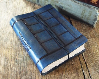 Leather Journal . River Song's Tardis Journal (Doctor Who inspired) . blue hand-dyed leather and engraved . handmade handbound (320 pgs)