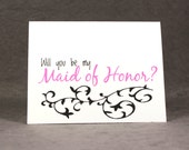 Will You Be My Maid of Honor Card, Select Color and Pattern, Asking Maid of Honor, Flat Rate Shipping