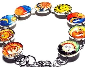 Sun Moon Jewelry, Sun and Moon Bracelet, Celestial Jewelry, Resin Bracelet, Handmade Bracelet, Resin Jewelry, Handmade, Yin and Yang Jewelry