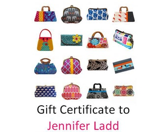 75 dollar gift certificate to Jennifer Ladd's shop, Etsy gift card, Etsy gift order, Printable gift certificate, e gift card, Handmade bags