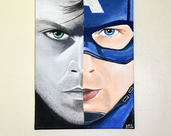 Original Painting of Captain America and Bucky Barnes 9x12 Canvas