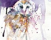 Owl Watercolour. Barn Owl Watercolour Painting. Owl Gift. Bird Art. Barn Owl