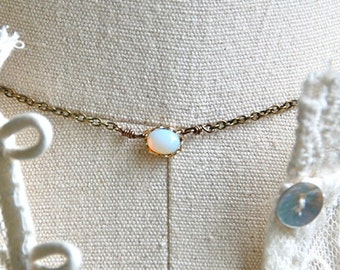 White opal choker necklace/simple necklace/opal jewelry. Tiedupmemories