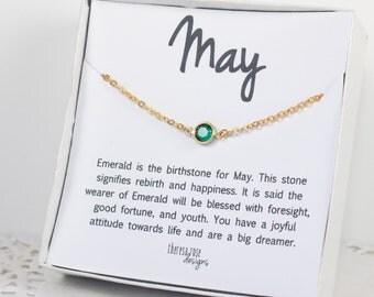 May Birthstone Swarovski Necklace, May Birthstone Emerald Gold Necklace, Swarovski Gold Necklace, Emerald Gold Necklace, Birthstone Jewelry