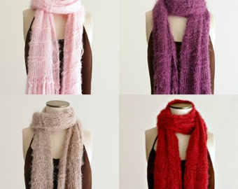 Scarves Women Knit Scarf Solid Colored Scarf with Fringe Gift for Her Girlfriend Gift