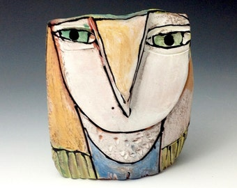 "Owl, Owl art, Clay owl, clay sculpture, ""Owl Person Standing Centered in Love"", 3-1/2"" tall"