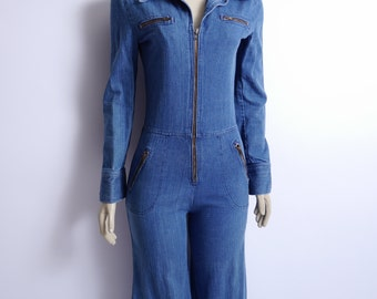 Vintage Denim Jumpsuit Zip Up Long Sleeve Small