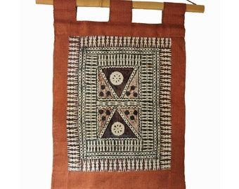 vintage Indian tribal art / Warli art wall hanging / made of natural fibers, burlap, bamboo and jute