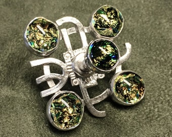 Compass Wheel Dreidel set with Gold Dichroic Glass