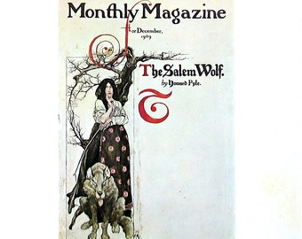 "Harper's Monthly Magazine Cover, Arrival of Stuyvesant in New Amsterdam - Howard Pyle Art - 1971 Vintage Book Page - 2 Sided - 9.5"" x 10"""