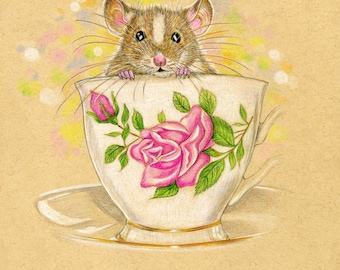 Mouse in a Tea Cup. Izzy. Can be personalized.