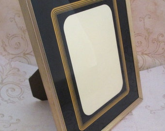 8x10 picture frame, Vintage Metal Photo Frame, Art Deco Style, Gold Wedding Picture Frame, standing picture frame, reverse painted glass