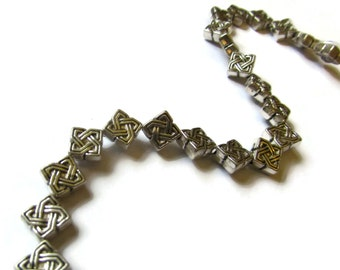 7mm Antique Silver Celtic Knot Square Beads 8 Inch Strand