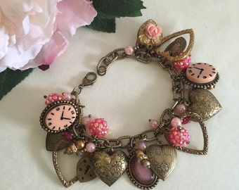 New Romantic Hearts Charm Bracelet Victorian vintage style gothic lolita steampunk romantic jewelry