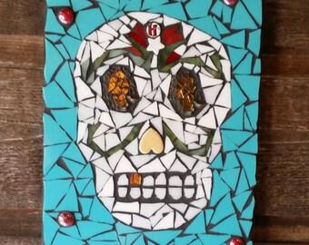 """SOLD * Day Of The Dead Mosaic Art- Handmade Original Artwork- """" El Musico""""- Mixed Media Mosaic- Skull Art"""