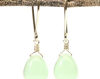 Rose gold earrings glass, seafoam glass earrings, aqua drop earrings, mint earrings, green stone earrings Paka Ua Plump Deep Seafoam v2
