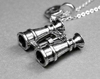 Binoculars necklace, binoculars charm, opera glasses necklace, binocular telescopes, personalized necklace, initial necklace, initial charm