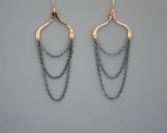 gold filled and oxidized sterling silver mixed metal chain earrings, Rachel Wilder Handmade Jewelry