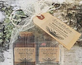 Bath Salt Set | Natural Bathing Salts | Aromatherapy Bath Salts | Lavender Bath Salts | Sea Salt Bath Soak | Gift for Her | Bath Salt Gift